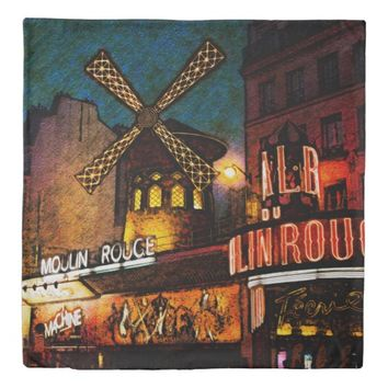 Retro Paris Famous Cabaret With Glowing Lights Duvet Cover