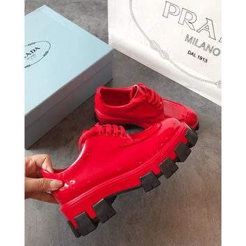Prada Red Monolith Patent Leather Derby Shoes - Best Online Sale