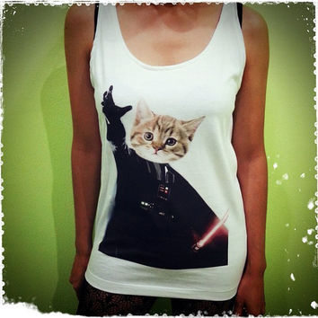 Cat Vader - Funny Star wars Darth Vader Jedi Kitten US Movies Hollywood Woman Tank Top Crop Vest Tshirt T Shirt Tees S, M, L