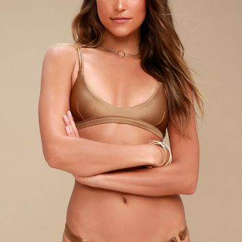 Mallory Skimpy Bronze Metallic Bikini Bottoms