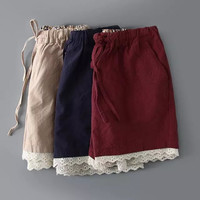 Summer Lace Cotton Linen Casual Pants Shorts [6034463617]
