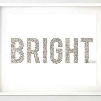"Silver Christmas printable "" Bright "" silver glitter typography, silver glitter word, silver holiday decor, silver christmas wall art -pp93"