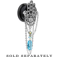 "3/4"" Handcrafted Hamsa Screw Fit Plug Created with Swarovski Crystals"