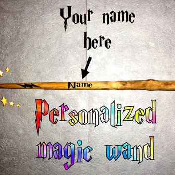 Your natural magic wand. Custom name personalized magic wand Harry Potter style. Hand carved strong wood. Party magic customized magic wand.