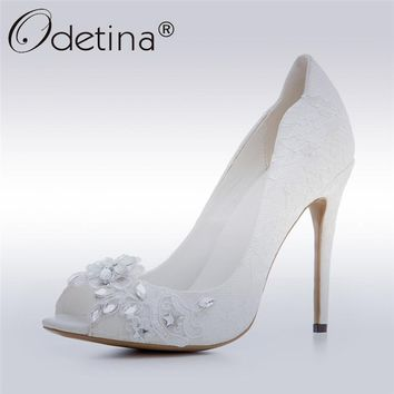 Odetina 2017 Brand Women White Wedding Shoes Open Toe Crystal Extreme High Heels Sexy Stilettos Bridesmaid Shoes Big Size 33-43