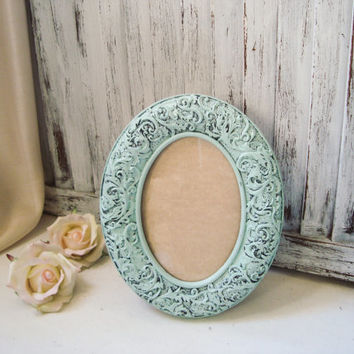 Light Aqua Blue Oval 4 x 6 Picture Frame, Wedding Table Number Frame, Mint Blue Ornate Detailed Vintage Style Frame, Nursery Frame