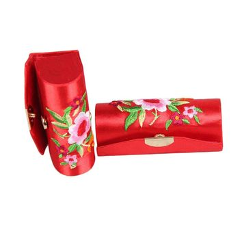 1PC Random Color Chinese Style Flower Design Retro Lipstick Case For Cosmetic Bag Brocade Embroidered Holder Box with Mirror