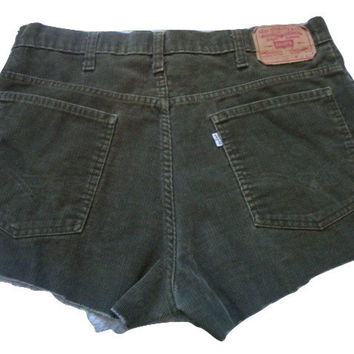 LEVI'S frayed cut off 80'S Olive GREEN CORDUROY high waisted rise women shorts Size 18