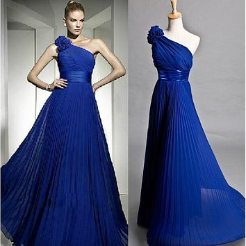 Sexy Formal gown royal blue long bridesmaid dress