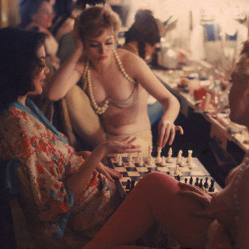 Showgirls Playing Chess Between Shows at Latin Quarter Nightclub Photographic Print by Gordon Parks at AllPosters.com