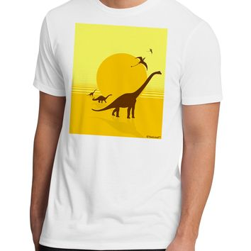 Brontosaurus and Pterodactyl Silhouettes with Sun Men's Sublimate Tee by TooLoud