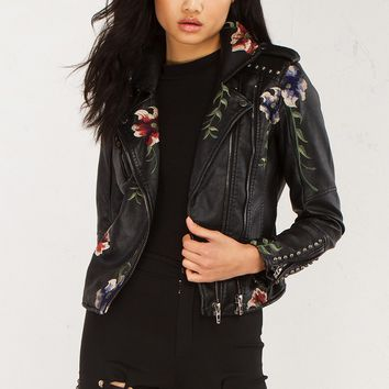 Floral Embroidered Leather Jacket in Black