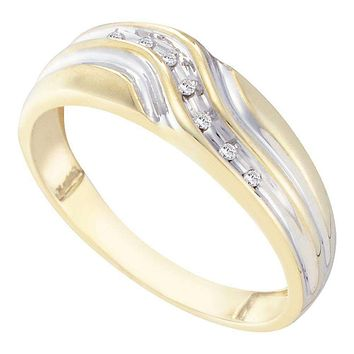 10kt Yellow Gold Men's Round Diamond Single Row Two-tone Wedding Band Ring 1/20 Cttw - FREE Shipping (US/CAN)