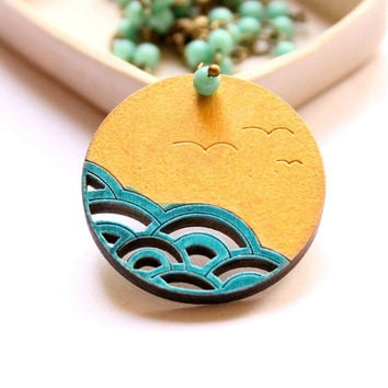 Necklace in Turquoise Blue and Gold colors with Japanese Wave Pattern and Seagulls - The Sea  - mini collection - round