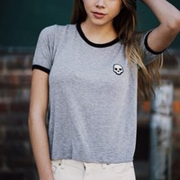 NADINE SKULL PATCH TOP