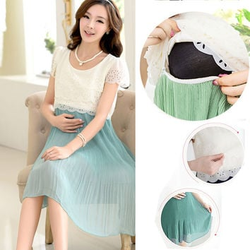 Maternity Nursing Dress For Pregnant Women Clothing 2015 Summer Fashion Chiffon Breastfeeding Skirt Pregnancy Clothes Lactation