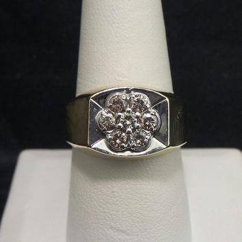 Solid 14K Yellow Gold .50 ctw Genuine Diamond Cluster Ring - Size 9