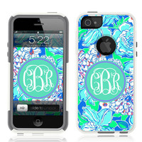 iPhone 5 Case White Hybrid Lilly BLUE Monogram by Unnito