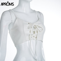 Aproms White summer crop top Sexy Scoop neck lace up bust knitted Tops Women Elegant 90s Girls beach Slim Camis outfits 40619