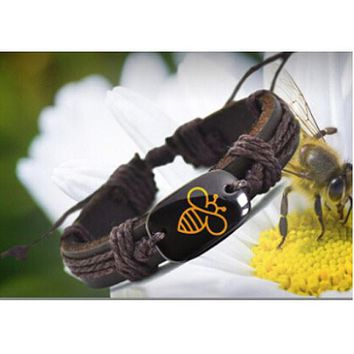 Lovely Bee Handmade Leather Bracelet YP2690 - 2 Colors