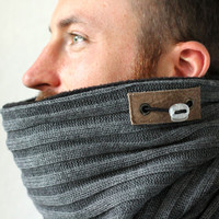 Snock™, mens cowl scarf in charcoal grey rib + fleece lining (neck warmer, neckwarmer, cowl, scarf, circle scarf, tube scarf, winter cowl)