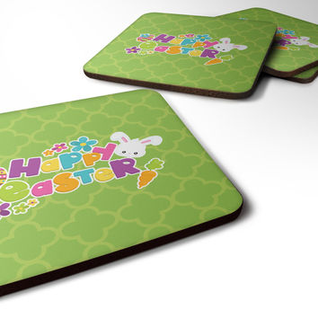 Happy Easter Green Quatrafoil Foam Coaster Set of 4 BB6900FC