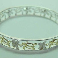 SILVER 925 2 TONE HAWAIIAN CUT OUT HONU SEA TURTLE PLUMERIA FLOWER BANGLE 7.5""
