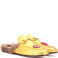 Princetown fur-lined metallic leather slippers