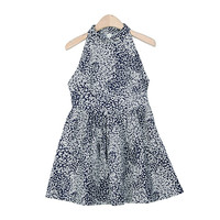 Fine Floral Printed Feminine Halter-Neck Dress