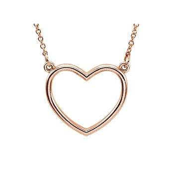 Polished 13mm Heart Necklace in 14k Rose Gold, 16 Inch