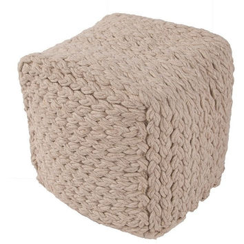 Beige Braided Wool Pouf