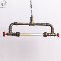 Copper Rustic Metal Water Pipe Hanging Ceiling Pendant Light Max. 40W With 1 Light Painted Finish