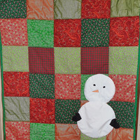 Snowman adult throw patchwork quilt or blanket - Homemade Christmas gift - 36x48 Christmas present