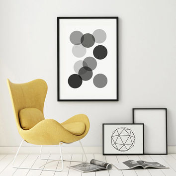 Geometric Art Minimalist Abstract Art Print Home Decor Giclee Screenprint Gallery Wall  Large Kunst Graphics Dots Circle Druck PRINTABLE