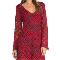 LIV Lana Bell Sleeve Dress in Wine