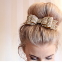 Large size gold bow hair hair clips
