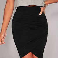 Black Bodycon Wrap Mini Skirt