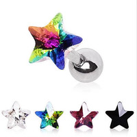316L Surgical Steel Star Prism Cartilage Earring Get All 5 Colors