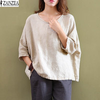 2017 ZANZEA Womens Vintage Cotton Crew Neck 3/4 Sleeve Pockets Casual Loose Tops Blouse Shirt Plus Size
