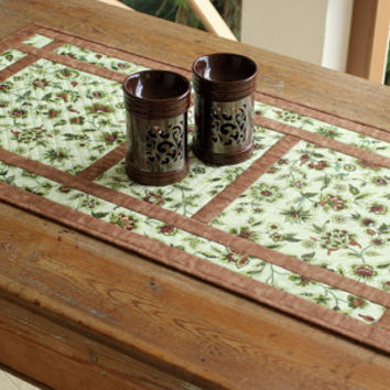 Quilted Table Runner - Green and Brown Table Runner - Floral Table Runner - Modern Table Runner - Mother's Day Gift - Handmade Table Linens