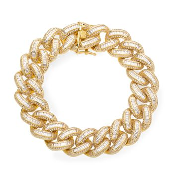 19mm Iced Cuban Link Bracelet In Yellow Gold