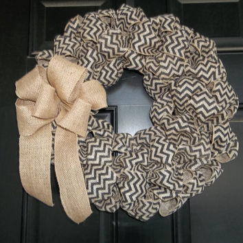 "18""  Natural and Black Chevron  Burlap Wreath, door wreath, wall decor"