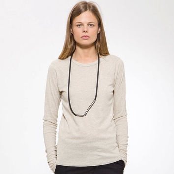 Basic Off White Long Sleeve Women Winter Tshirt