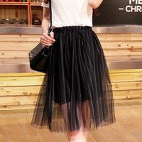 White Floral Lace T-Shirt and Black Pleated Skirt