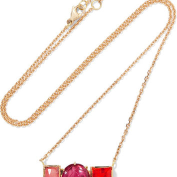 Brooke Gregson - Maya Halo 18-karat gold, tourmaline and opal necklace