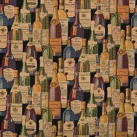 A009 French And Italian Wine Bottles Themed Tapestry Upholstery Fabric By The Yard