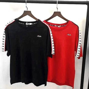 Chenire Fila vintage print shorts sleeve black red top tee H-A-GHSY-1