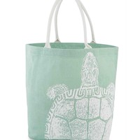 Mint Green & White Turtle Print Jute Beach Tote