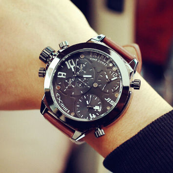 Mens Special Arms Leather Watch Gift - 533