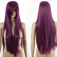 HealthTop Long Straight 80cm Deep Purple Heat Resistance Cosplay Wig Anime Show & Fancy Dress Party & Performance Hair Full Wigs